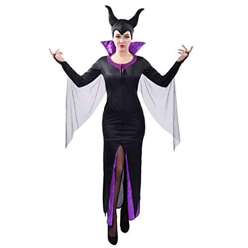 YuanDian Mujer Halloween Terror Disfraz De Esqueleto Monos Muerta Novia Bruja Traje Vestidos Carnaval Cosplay Faciles Disfraces Trajes De Halloween 14# Reina de la Magia Negra 175