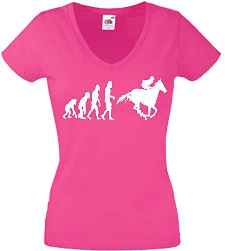 JINTORA T-Shirt - Chemise Femme Rose - V-Cou - Taille L - Evolution du Sport équestre - JDM/Die Cut - pour la fête Carnaval Travail et Loisirs