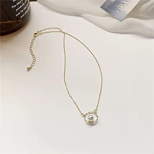 QiuYueShangMao Colgante de Collar Bonito Collar con Colgante de Cadena de Color Dorado Redondo de Perlas para Mujer Collar de clavícula para niña Collar de Temperamento Regalo para Ella