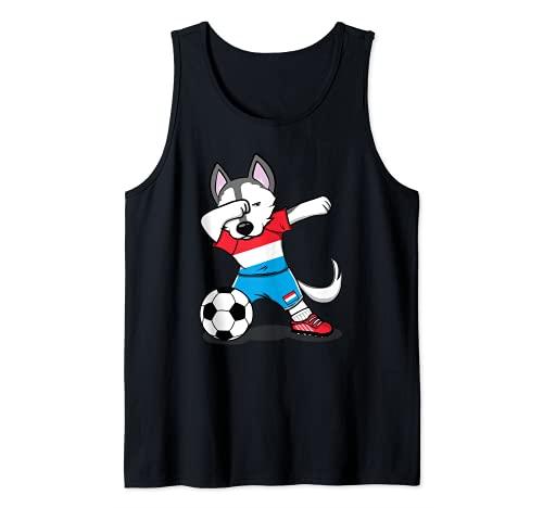 Dabbing Husky Dog Luxemburgo Fútbol - Bandera de Luxemburgo Camiseta sin Mangas