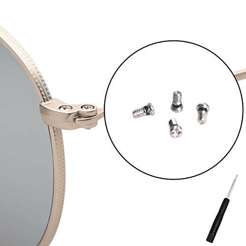 Tornillos de repuesto para Ray-Ban Aviator RB3025 3025 kit de reparación de gafas de sol (juego de 4), destornillador adicional (plata)