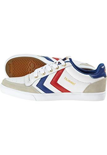 hummel HUMMEL STADIL LOW, Unisex-Erwachsene Sneakers, Weiß (White/Blue/Red/Gum), 36 EU (3.5 Erwachsene UK)