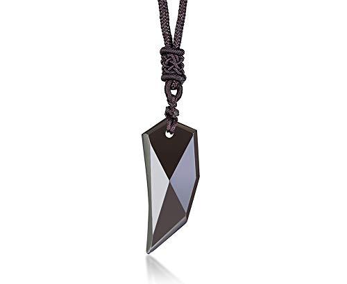 VNOX Vintage Natur EIS Obsidian Edelstein Wolf Zahnspitze Amulett Lanyard Anhänger verstellbare Halskette Talisman Schmuck für Männer