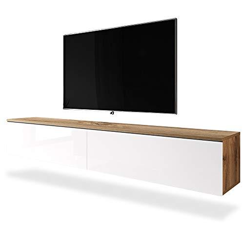 Selsey Kane - Meuble TV à Suspendre/Banc TV (chêne wotan/Blanc Brillant, 180 cm, sans LED)