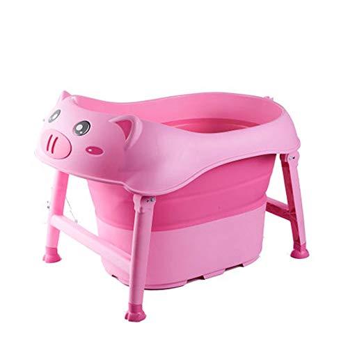 NXYJD Bañera Plegable para bebés, Barril de baño para niños, bañera Grande para bebés, Lavadora, portátil, Antideslizante, Segura, bañera para niños, Estilo lechón