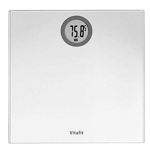 Vitafit Pèse-personne Électronique,Pese Personnes Balance Numériques avec technologie Step-On,5kg-180kg, Affichage LCD, Argent Elégant