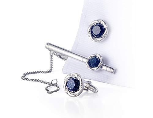 BagTu Crystal Galaxy Lot de boutons de manchette et pince à cravate avec boîte cadeau et carte de vœux Bleu foncé