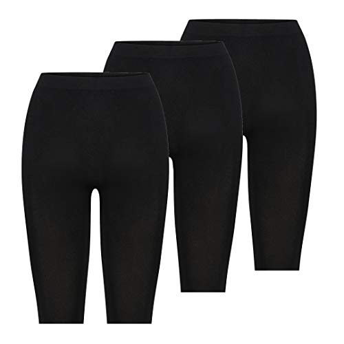 Kendindza Damen Kurze Hose | Legging Knielang | Nahtlos Short (Schwarz | 3er Pack, L)