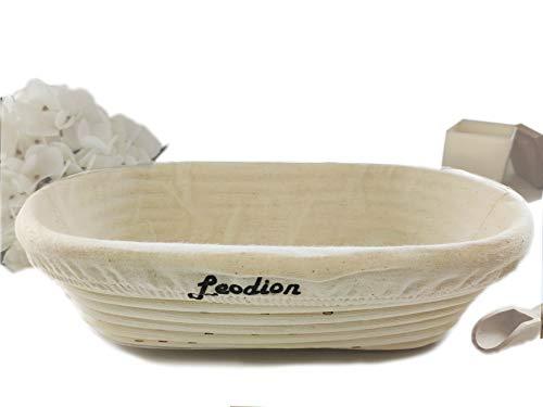Leodion Gärkorb für selbstgemachtes Brot - mit Leineneinsatz (Oval | Ø 28 cm)