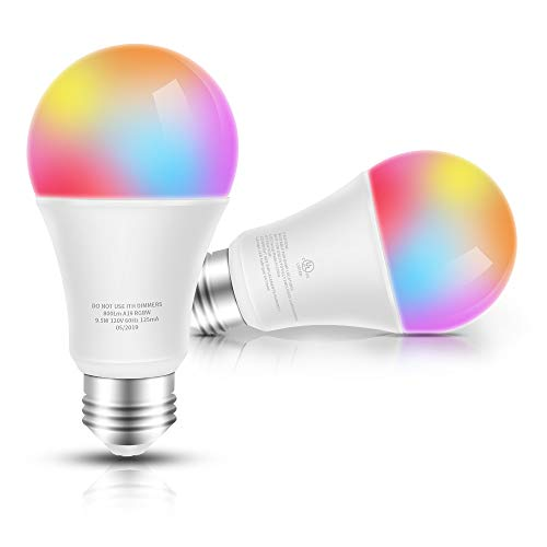 Smart LED Bulb WiFi Multicolor Light Bulb Compatible with Alexa, Echo, Google Home and IFTTT No Hub Required, E26 A19 60W Equivalent RGBW Color Changing, 9.5W White 2700K Dimmable UL Listed, 2pack