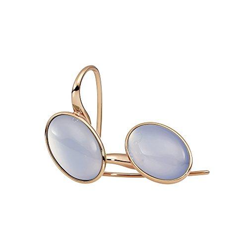 Metal Damen-Pendientes de acero inoxidable chapado en oro calcedonia azul parte - 411982G0