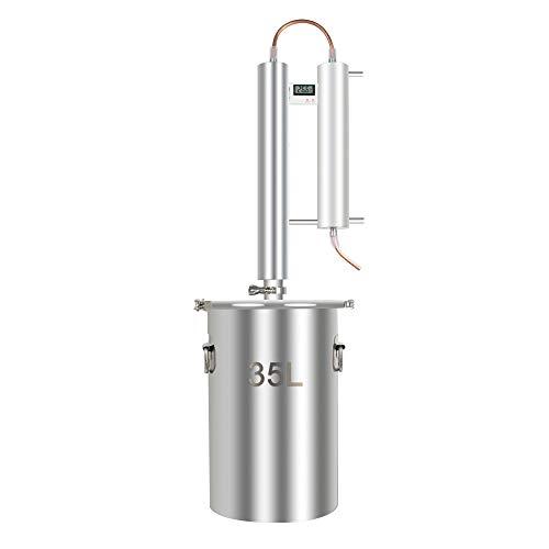Alcohol Distiller, Home Brewing Kit Moonshine Ethanol Still Wine Making Starter Sets Stainless Steel Boiler, US Shipping (35L)