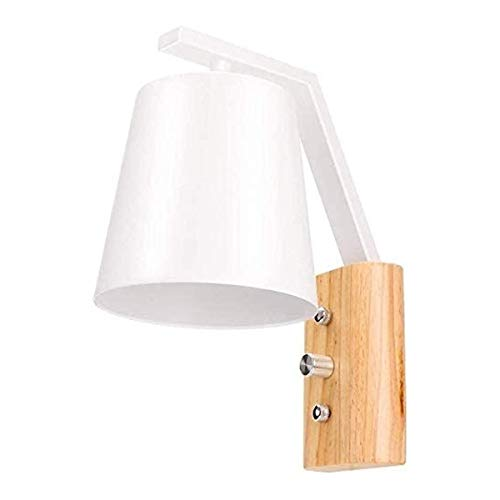 PQQ Lámpara de Pared Apliques de Pared LED Nordic Personalidad Simple Sombra de Hierro Creativa Base de Madera Maciza con Interruptor de luz de Pared