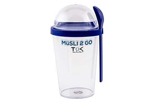 TOK Müslibecher to go/Joghurt to go Becher mit Löffel/komplett dicht, BPA frei, wiederverwendbar / 450 ml Becher & 150 ml Deckel/Reise-Müsli-Becher für den gesunden Snack unterwegs/Blau