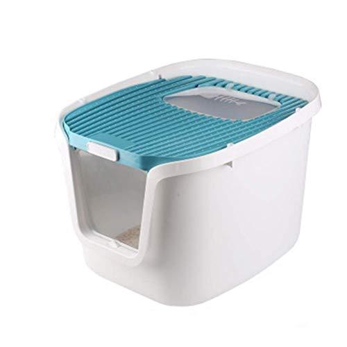 GUOXY Caja de arena grande para gatos con tapa filtrada con media cubierta para mascotas, gatos y arenero, para limpiar sartenes, color azul