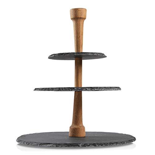 Boska Party Tower/Käse, Tapas oder Snacks servieren/drei Ebenen/Schiefer/Schwarz/Braun / 330 x 300 x 300 mm