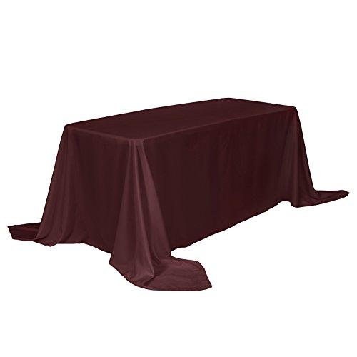 VEEYOO Mantel Rectangular 100% Poliéster Mantel Oblongo para Despedida de Soltera - Cubierta de Mesa Ovalada Suave y Sólida para Bodas Restaurante Fiesta Buffet Mesa (Borgoña, 225x396 cm)