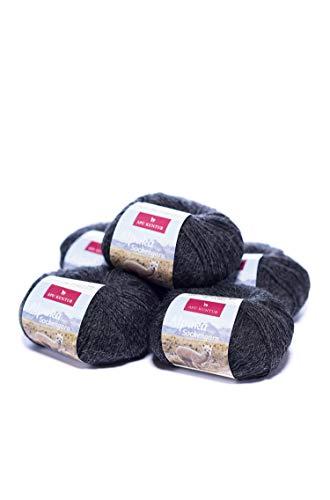 APU KUNTUR Alpaka Socken-Wolle | Strick-Häkel-Garn weich, warm und kratzfrei | 5er Vorteilspack | 200m, Nadel 2,5 | wunderschüne Farben zum angenehmen Stricken und h�keln | Mittelgrau