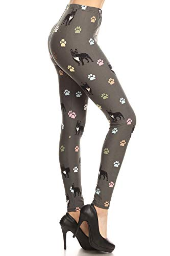 S541-OS Frenchie Paws Printed Fashion Leggings