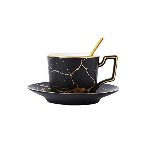 JFCXBSSL Juego de taza y platillo, 8,5 x 6,8 cm, estilo europeo, mármol pintado a mano, de cerámica Phnom Penh, 3 piezas, taza de café y cuchara, taza de té de flores