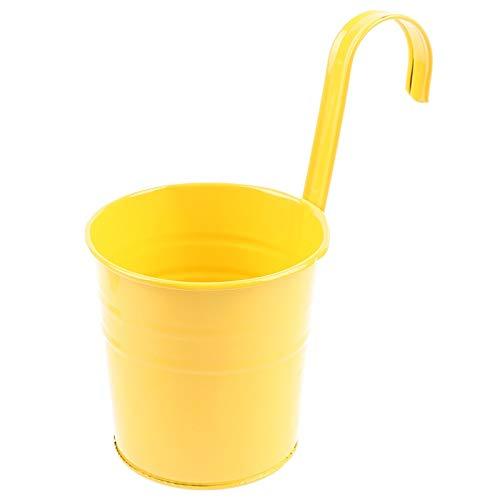 Plushfarm 1 PC Jardín Potículas de macetas Cubo Colgante de la Pared para Plantas de balcón Potes Colgante de Colgar Contenedores de Flores 15.5cm x 10cm x 8cm (Color : Yellow)