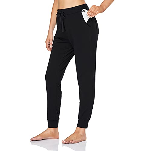 Ollrynns Pantalones Chándal Mujer Algodón Largos Jogging Pantalón Deportivos con Bolsillos para Yoga Fitness Jogger Correr Casual N061,Negro,M