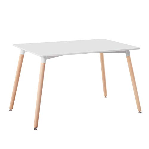 ZOONFA Modern Rectangle Dining Table White Kitchen Table with Solid Beech Legs for Dining Room Kitchen Office Lounge Bistro (White, 120 x 80 cm)