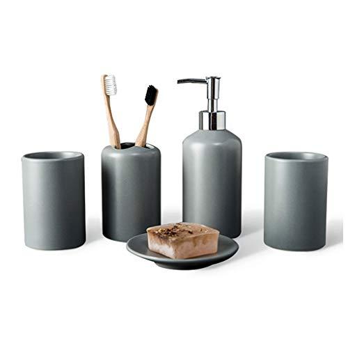 OMIDM Dispensador de jabón Baño de cerámica Lavado de Cinco Piezas Conjunto para baño Cocina Fregadero Dispensador de jabón Jabón de Mano Jabón Champú Ducha Gel Botella vacía Dispensador de jabón