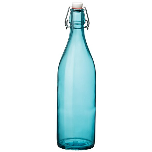 Giara - Bottiglia con tappo ermetico, 1 litro, in vetro blu ecologico, per cordiali e conserve