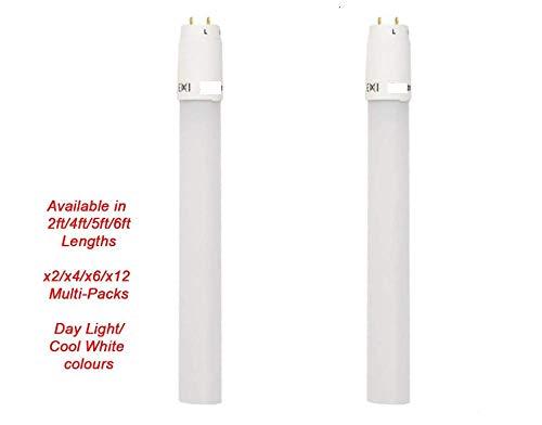 siyao HighTech T8 LED-Röhre - Nachrüsten der Leuchtstoffröhre - Inklusive Starter - Bündel von x2 / x4 / x6 / x12 erhältlich! (1x - 5FT - Tageslicht)-6X - 5FT_Kaltes Weiß