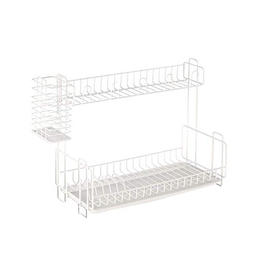 LONGJUAN-C Home 2 Tier Dish Drainer With Tray Dish Drying Rack With Utensil Holder Dish cup drying rack (Color : White, Size : 39x20x33cm) Dish Rack