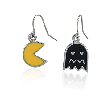 fidaShop New Cute Original Video Game Inspired PAC-Man and Ghost Dangle Earrings Jewelry