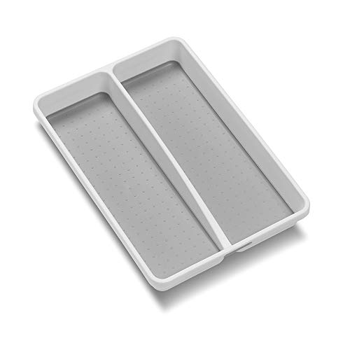madesmart Classic Mini Utensil Tray - White | CLASSIC COLLECTION | 2-Compartments | Kitchen Organizer | Non-slip Lining and Rubber Feet | BPA-Free