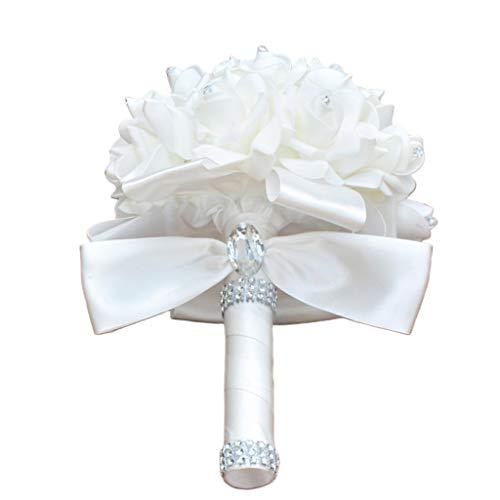 MYhose Bouquet da Sposa Stile Coreano Matrimonio Bouquet da Sposa Fiore Artificiale Rose in Schiuma di PE con Nastri di Strass in Cristallo Finto per Decorazioni per Feste in Chiesa Bianco