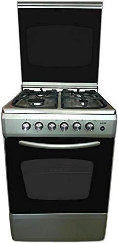 Cucina con forno A GAS silver/inox 60x60 4F GPL o metano grill e acc. elettrica