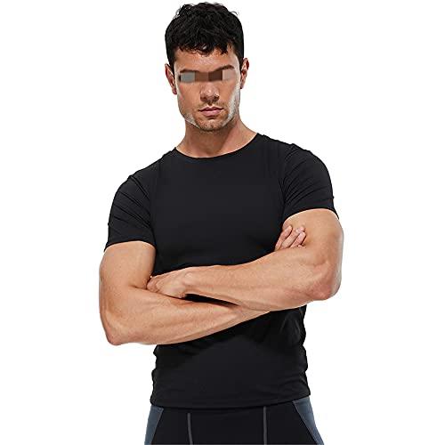 Shirt Correr Hombre Básica Ajustada Cuello Redondo Manga Corta Hombre Shirt Muscular Empalme Elástico Color...