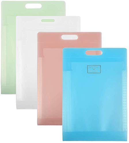 YOTINO 4 Colored Expanding File Folders, Vertical Accordion Type, 6 Pockets A4 Size,Waterproof Portable Document Holder