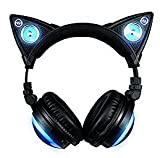 New Edition Wireless Cat Ear Headphones (12 Color Changing) with Speakers & 3.5mm Jack, Type-C Charging, Bluetooth&Wired Connection (Black)