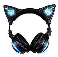 新世代 LED付き 高機能 猫耳ヘッドフォン12色 自由変換 6種フラッシュ モード 無線5.0 Bluetooth 3.5mm有線接続可能 スピーカー有り マイク内臓 Wireless Cat Ear Headphones (12 Color Changing) 並行輸入品