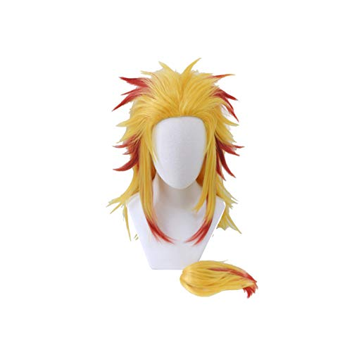 Xingwang Queen Anime Cosplay Wig Long Yellow Gradient Red Wig Clip on Ponytail Men Boys' Party Wigs