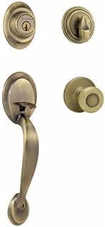 Kwikset 687DAXT 5 SMT CP 96870-087 Dakota Single Cylinder Handle Set with Tylo Knob Featuring Smart Key, Antique Brass