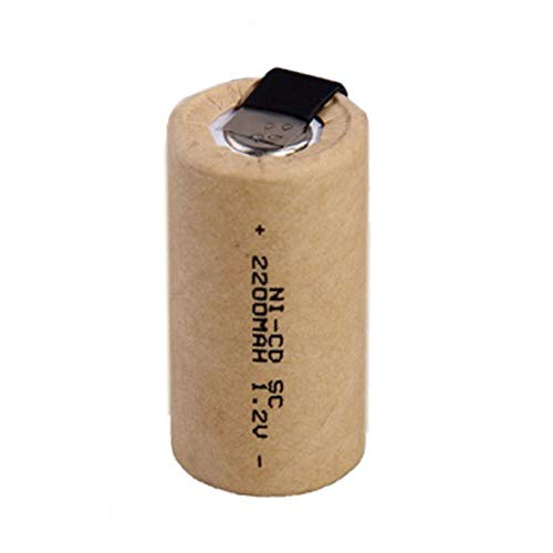 RitzyRose NICD SUBC 1.2v 2200mah Battey, Rechargeable Screwdriver Electric Drill Batteries with Tab Power Tool Cells 4pcs