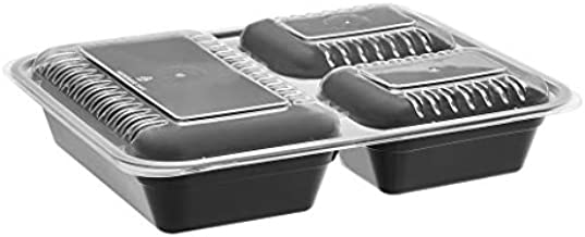 Amazon Basics 3 Compartment Meal Prep Containers - BPA Free, Microwave/Dishwasher/Freezer Safe, 36 ounces, 20-Pack