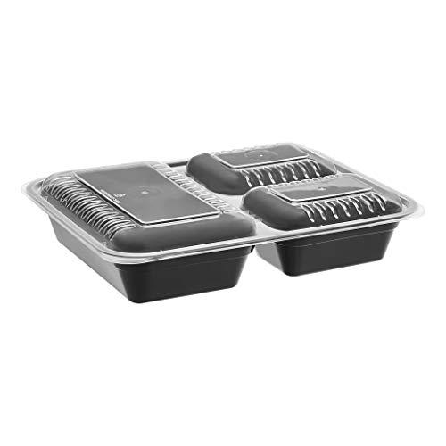 AmazonBasics - Contenedores de comida de 3 compartimentos - sin BPA, aptos para microondas, lavavajillas y congelador, aprox. 1 L, paquete de 20 unidades