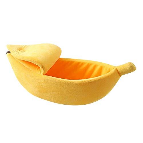 SIRIGOGO - Cama para Mascotas pequeña, con Forma de plátano, Suave, Suave, Transpirable, Color Amarillo, M/S