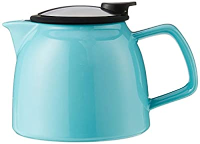 FORLIFE Bell Ceramic Teapot with Basket Infuser 26-Ounce/770ml, Turquoise