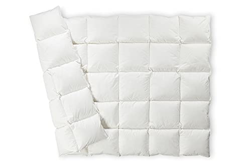 federiko Edredón nórdico 100% algodón sin blanquear, fabricado en Alemania, edredón de plumón certificado Oekotex, hecho a mano, plumón de clase I Alemania (135 x 200 cm, ligero y aireado)