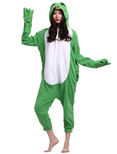 Jumpsuit Onesie Tier Karton Fasching Halloween Kostüm Sleepsuit Cosplay Overall Pyjama Schlafanzug Erwachsene Unisex Lounge, Grün Frosch, Erwachsene Größe M - für Höhe 156-167CM