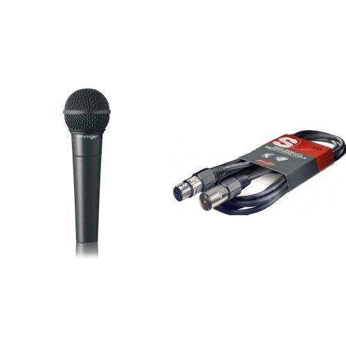 Behringer Ultravoice XM8500 Dynamisches Gesangsmikrofon mit Nierencharakteristik + Mikrofonkabel High Quality - 3 Meter - 1x XLR Male - 1x XLR Female Bundle