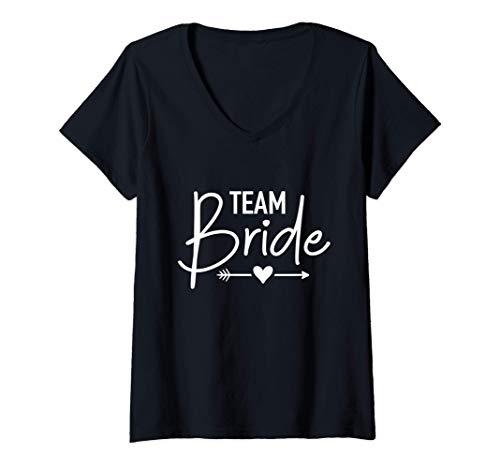 Mujer La despedida de soltera del equipo de la novia Camiseta Cuello V